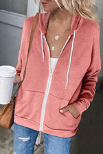 Casual Solid Zipper Front Side Pockets Drawstring Hooded Coat