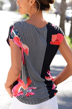 Paneled Striped Floral Print Vintage Short Sleeve Blouse