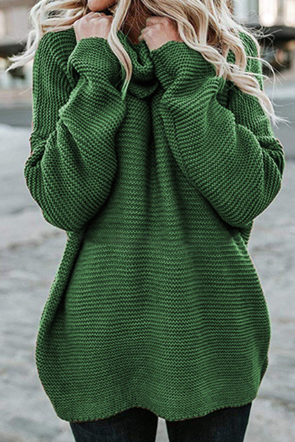Knitted Ribbed Solid Pile Neck Loose Simple Style Daily Sweater