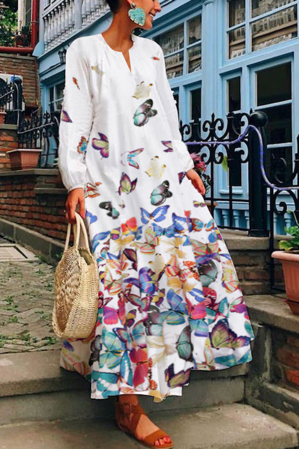 Vintage Casual V Neck Butterfly Maxi Dress
