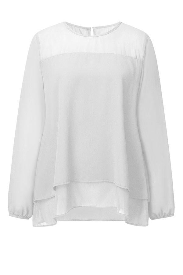 Paneled Solid Cutout Casual Chiffon Blouse