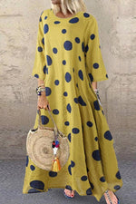Casual Polka Dot  Irregular Maxi Dress