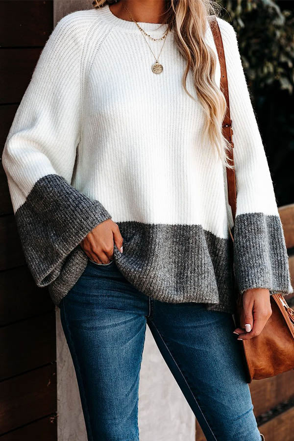 Sweety Solid Knitted Ribbed Color-block Bell Sleeves Sweater