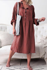 Notch Collar Button Down Adjustable Sleeves Midi Dress