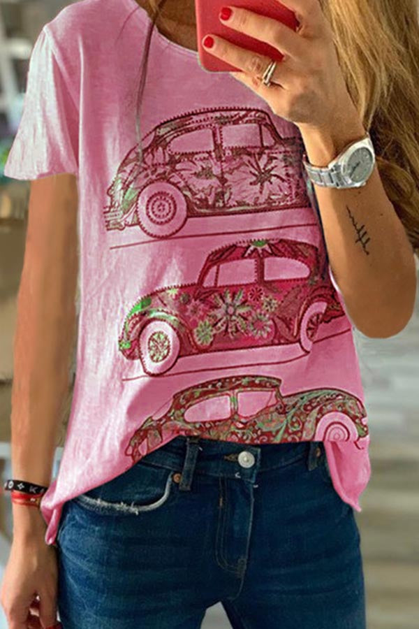 Car Print Crew Neck Casual Short Sleeve T-shirt