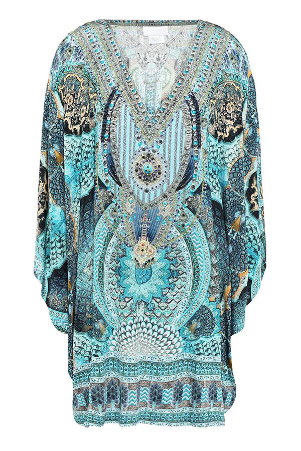 Bohemian Print Plunging Neck 3/4 Sleeves Holiday Mini Dress