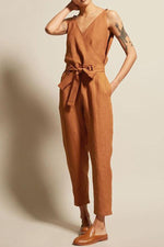 Casual Solid V-neck Sleeveless Jumpsuits With Belt