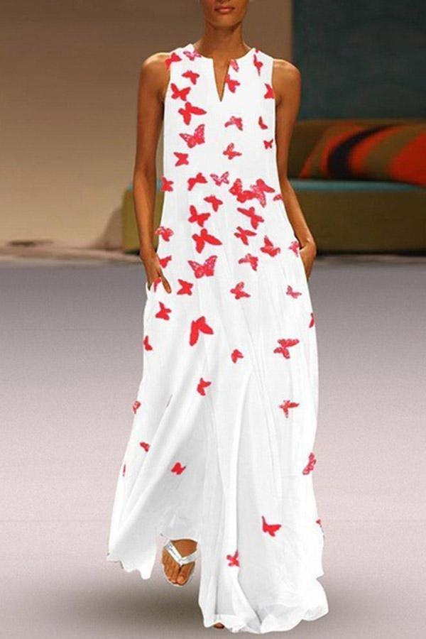 Butterfly Printed Boho Maxi Shift Dress