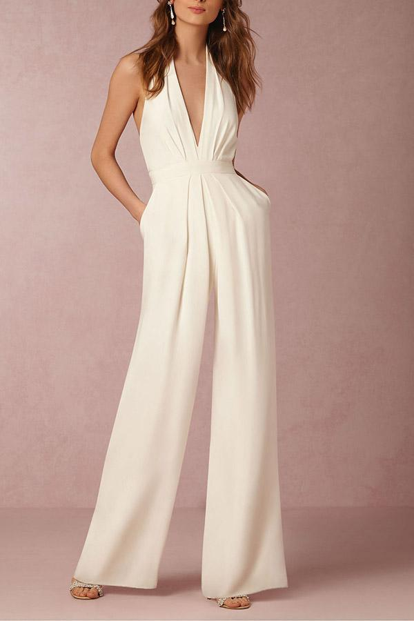Backless Halter Solid Elegant Jumpsuit
