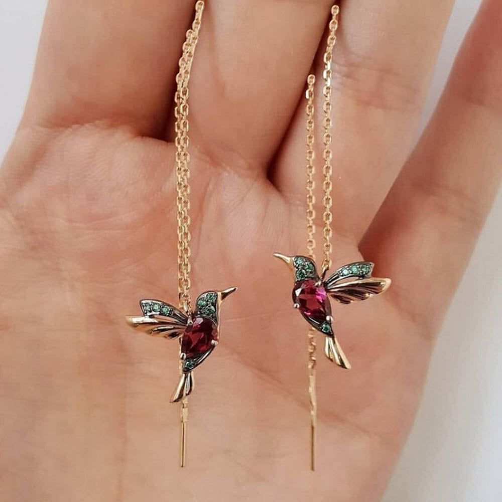 Women Exquisite Hummingbird Decoration Daily Earrings