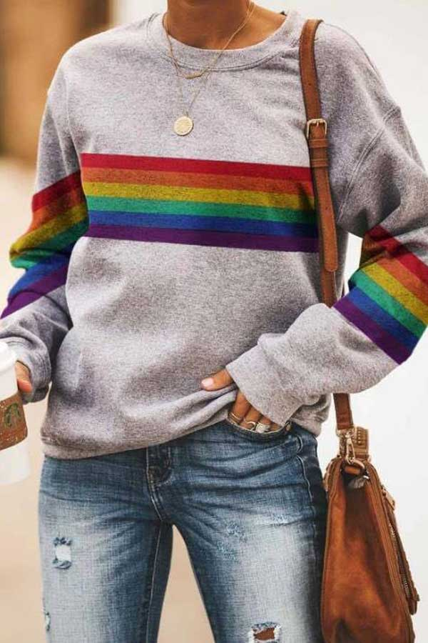 Rainbow Striped Gradient Letter Heart Print Casual Sweatshirt