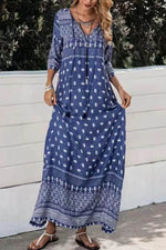 Bohemian Holiday Floral Geometric Print Drawstring Tassel V-neck Maxi Dress