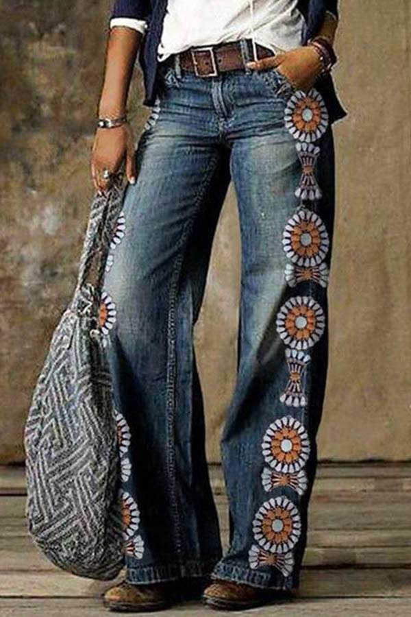 Women Retro Graphic Print Paneled Side Pockets Wide Leg Jeans