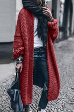 Solid Ribbed Long Sleeves Casual Knitted Cardigan