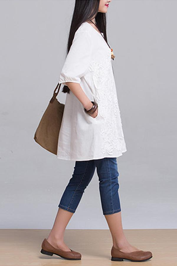 Embroidery Half Sleeve Loose T-shirts