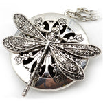 Vintage Ancient Lifelike Dragonfly On Openable Disc Essential Oil Incense Cutout Necklace