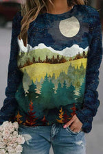 Forest Surround Mountain Under The Moon Starry Sky Landscape Jacquard T-shirt