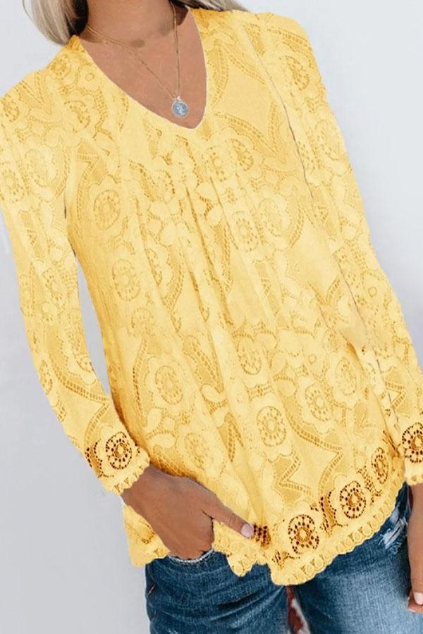 Elegant Floral Lace V-neck Paneled Long Sleeves Blouse
