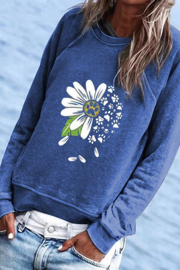 Daisy Footprint Paneled Print Casual Crew Neck Sweatshirt