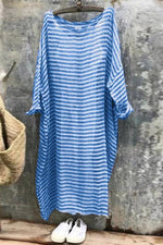 Striped Casual Crew Neck Maxi Dress