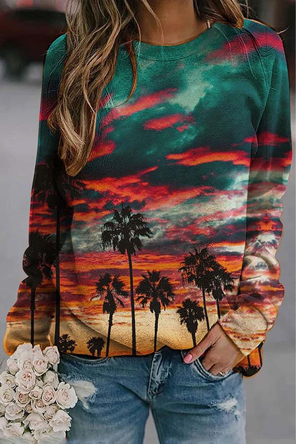 Gradient Sunset Glow Coconut Tree Nature Landscape Print Vintage T-shirt