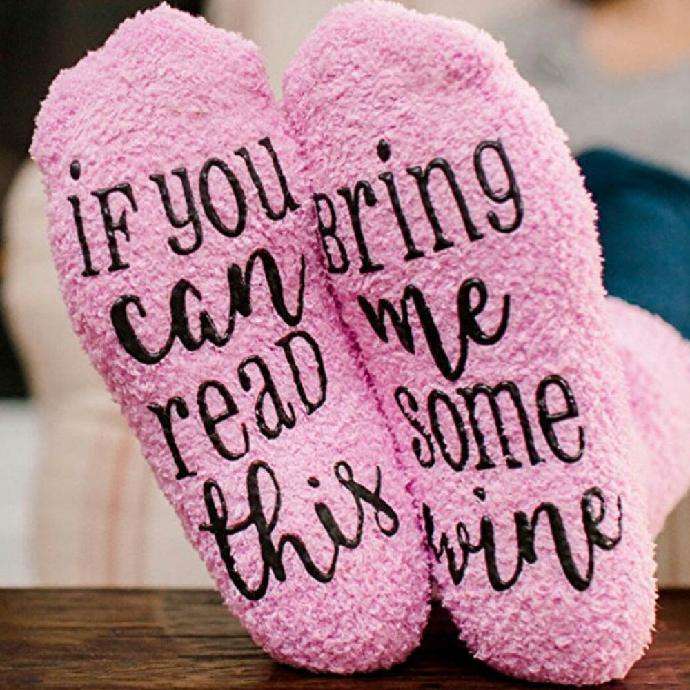 If You Can Read This Letter Anti Slip Rubber Appliqued Fuzzy Middle Cake Socks
