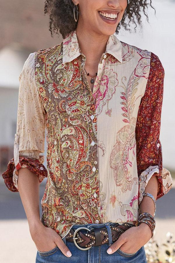 Floral Print Buttoned Color-block Vintage Shirt
