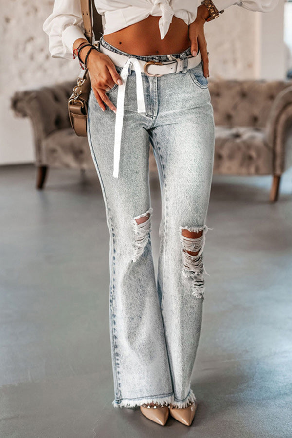 Women Street Trendy Solid Cutout Pockets Bell-bottomed Tassel Trim Jeans