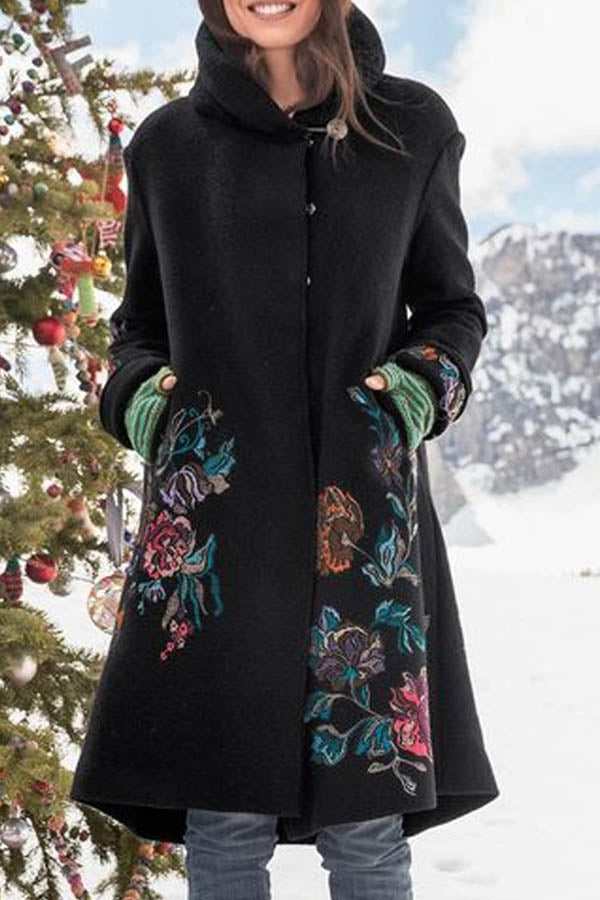 Floral Jacquard Vintage Buttons Down Lapel Collar Coat