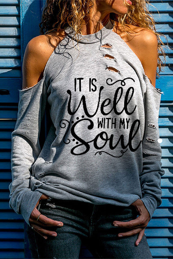 It Is Well With My Soul Letter Print Street Fashion Cutout Halter Neck T-shirt