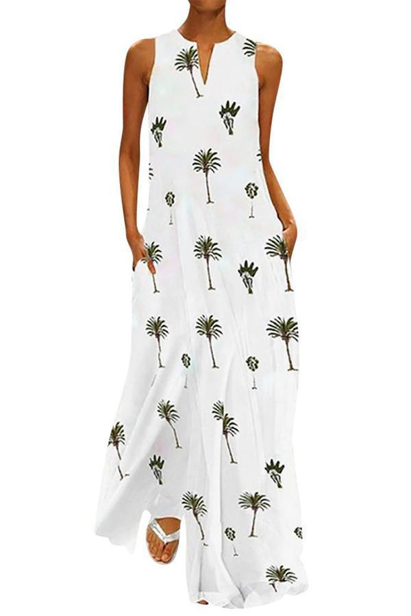 V Neck Holiday Boho Summer Maxi Dress