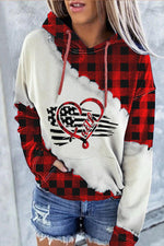 Sports Fashion American Flag With Heart Faith Letter Print Plaid Color-block Hoodie