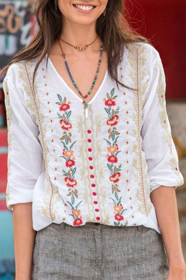 Casual V Neck  Floral Printed T-shirts