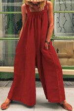 Solid Paneled Pleated Sleeveless Wide Leg Jumpsuit