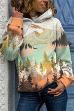 Abstract Landscape Painting Mountain Forest Jacquard Holiday Hoodie