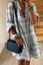 Casual  V Neck Striped Loose Mini Dress