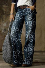 Heart Print Vintage Women Side Pockets Wide Leg Jeans