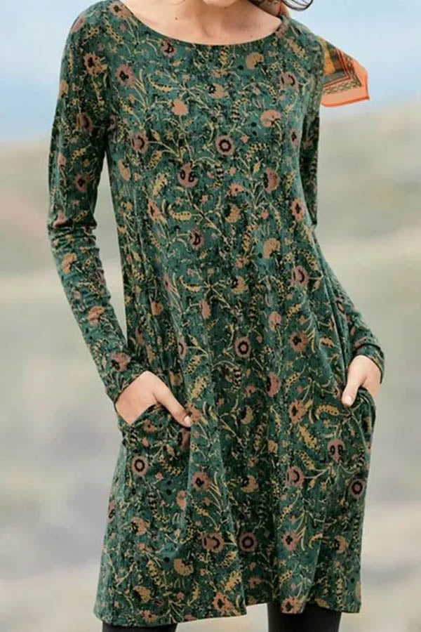 Dark Green Floral Print Vintage Crew Neck Pockets Midi Dress