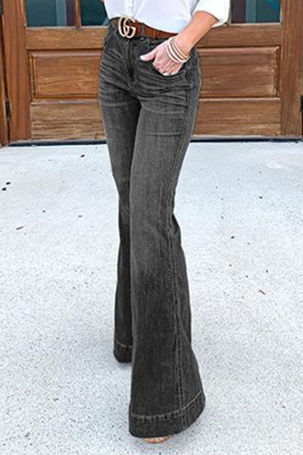 Daytime Solid Paneled Side Pockets Bell-bottomed Jeans