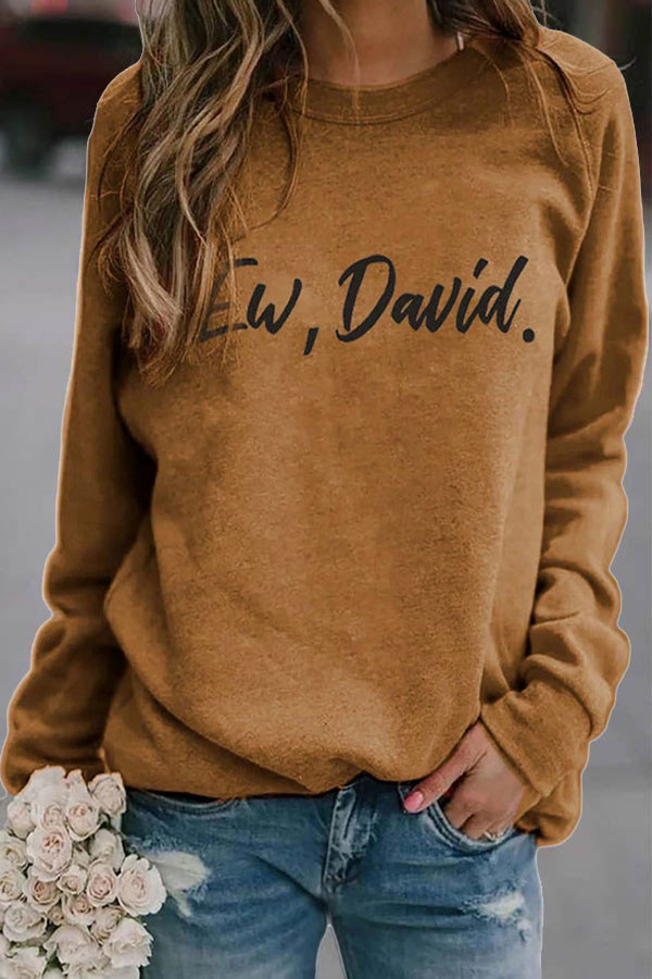 Ew David Letter Print Simple Style Crew Neck T-shirt