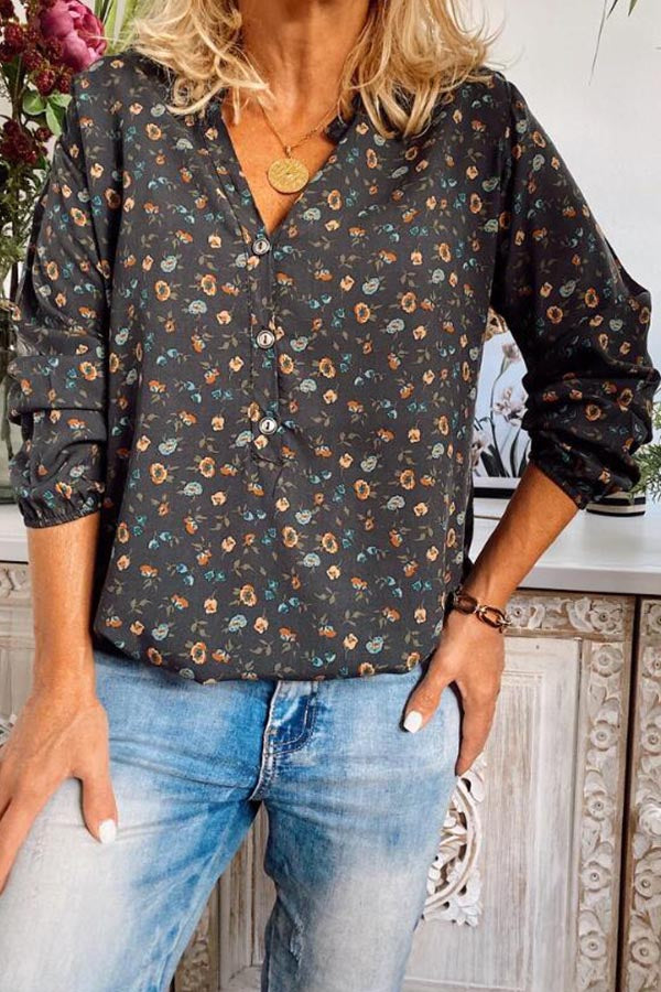Floral Casual Chimney Button Shirt