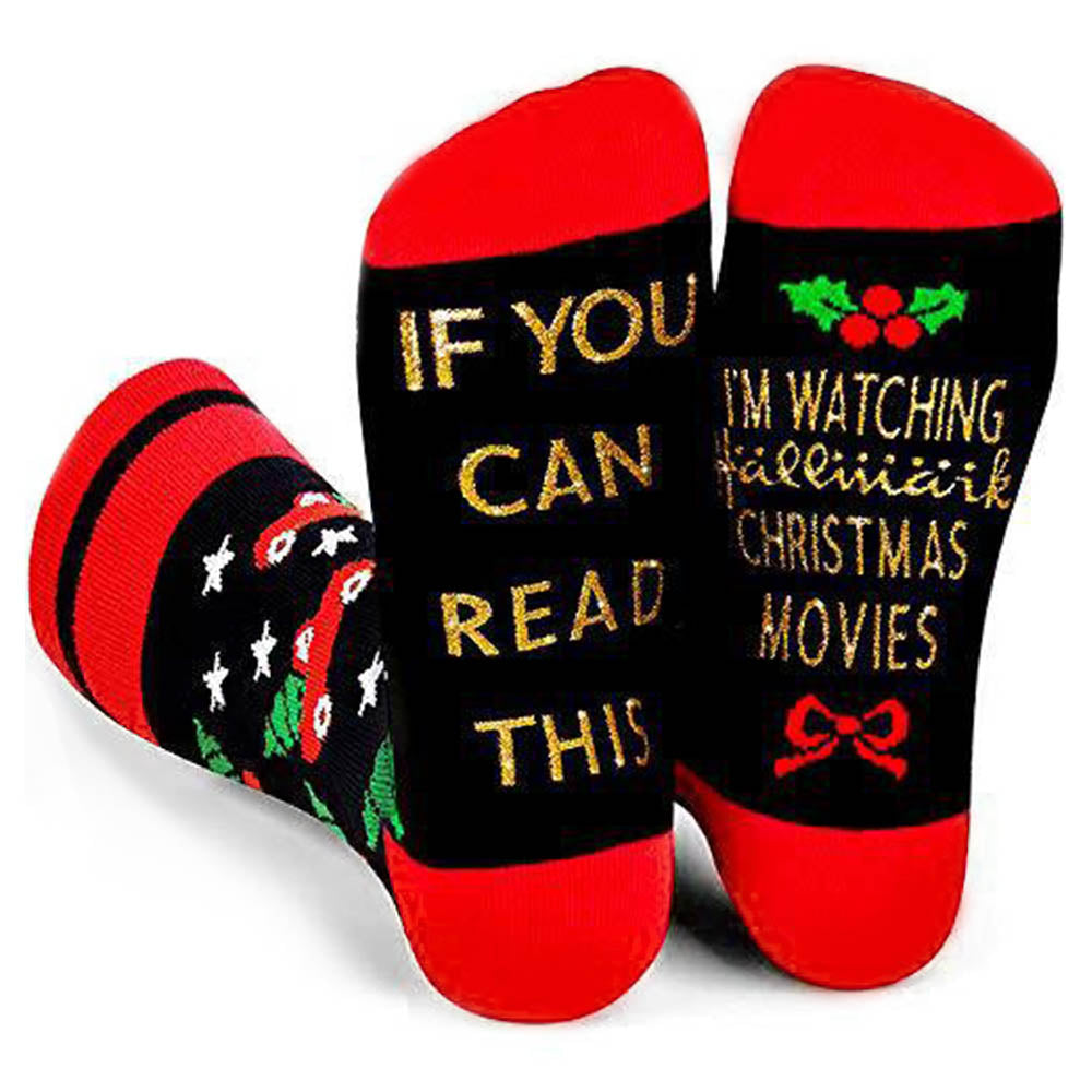 IF YOU CAN READ THIS IM WATCHING CHRISTMAS MOVIES Gold Letter Jacquard Middle Socks