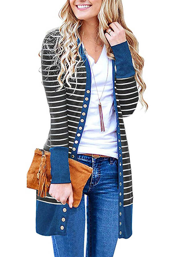 Striped Jacquard Color-block Buttons Down Casual Long Coat