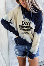 Day Drinking Because 2020 Sucks Letter Gradient Jacquard Color-block Sports Fashion Hoodie