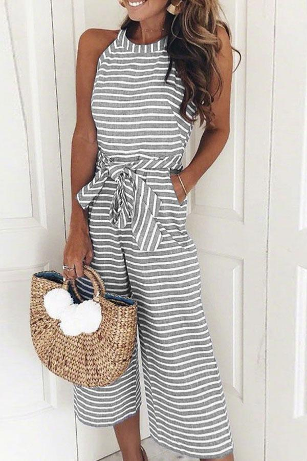 Stripe Self-tie Waist Side Pockets Casual Jumpsuit