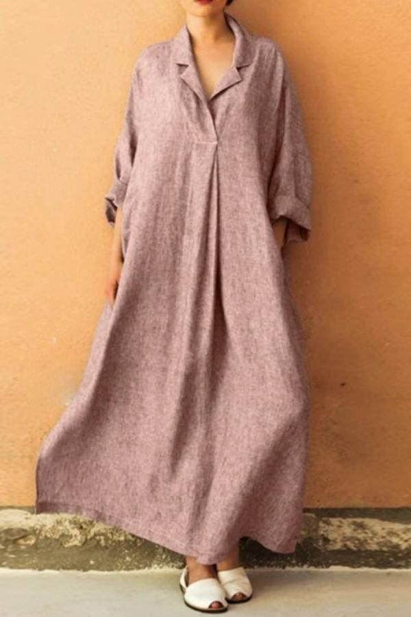 Solid Long Sleeve Shirt Collar  Maxi Dress