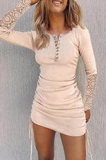 Sexy Bodycon Floral Hollow Out Lace Drawstring Buttoned Mini Dress