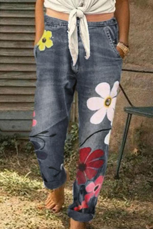 Floral Print Paneled Folds Casual Pockets Jeans