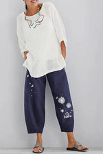 Floral Printed Casual Linen Shift Pants
