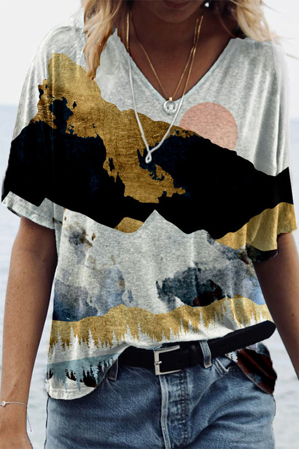 Sun Behind Mixed Colors Mountain Nature Landscape Print V-neck T-shirt